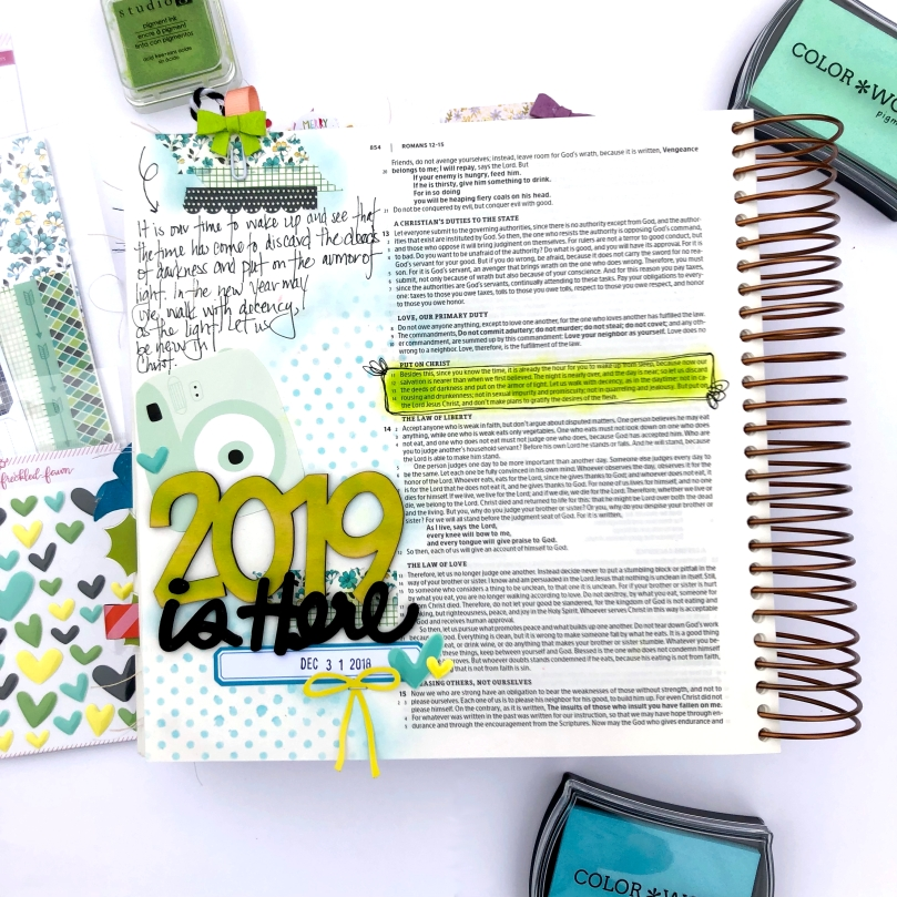 2019 is Here Bible Journaling Page using Freckled Fawn January 2019 Bundle - Lydia Cost