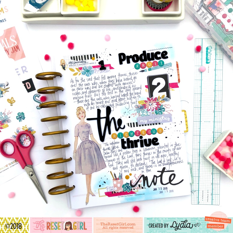 Scripture Writing in The Reset Girl 's Crafty Club Playbook using the Focused Collection - Lydia Cost