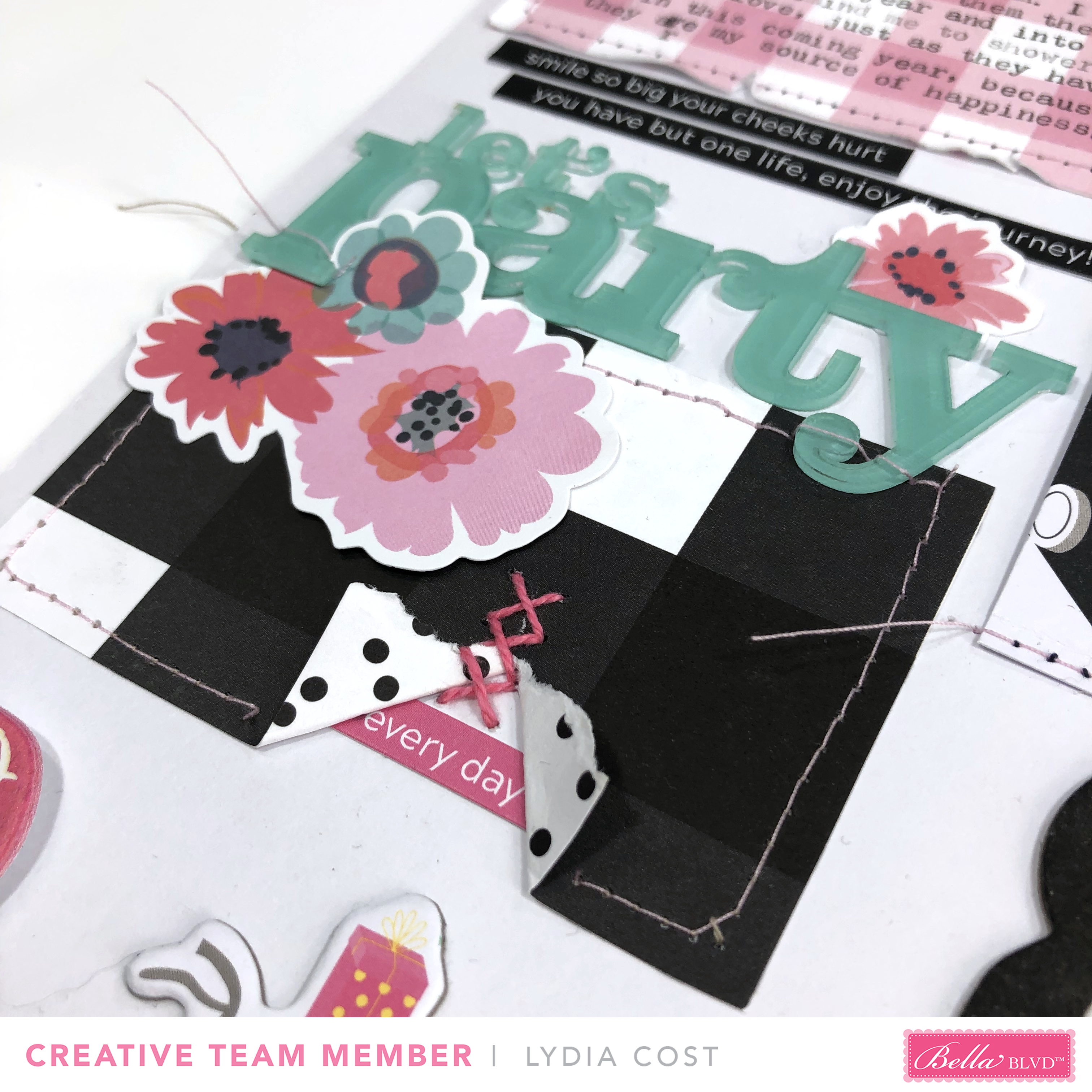 Hello Happy Journaling 12x12 Scrapbook Layout using Bella Blvd Plaids and Dotty - Lydia Cost