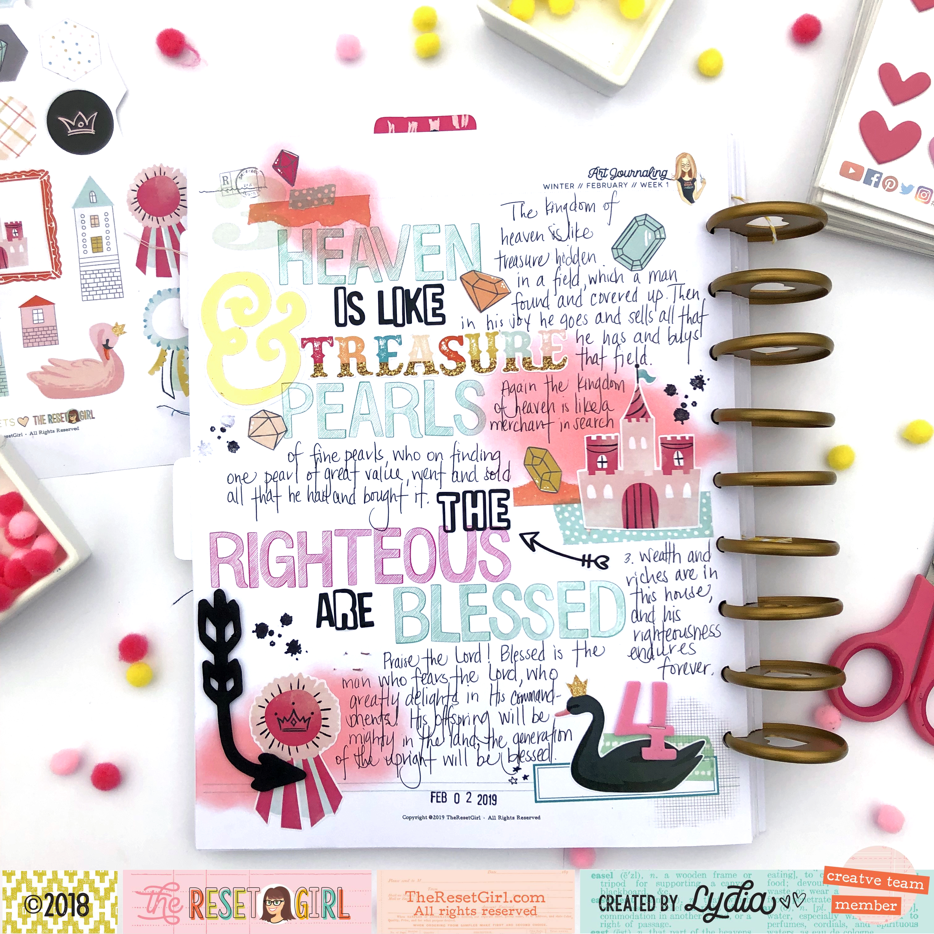 The Reset Girl Faithful Life Challenge Art Journal Page using Treasured Collection - Lydia Cost