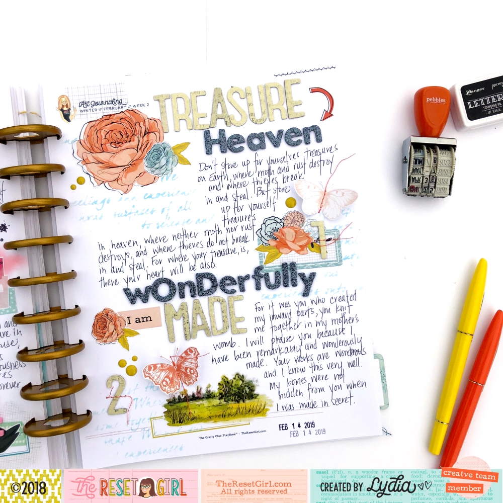 Wonderfully Made Scripture Art Journaling Page inside The Reset Girl Crafty Playbook, Adored Collection - Lydia Cost