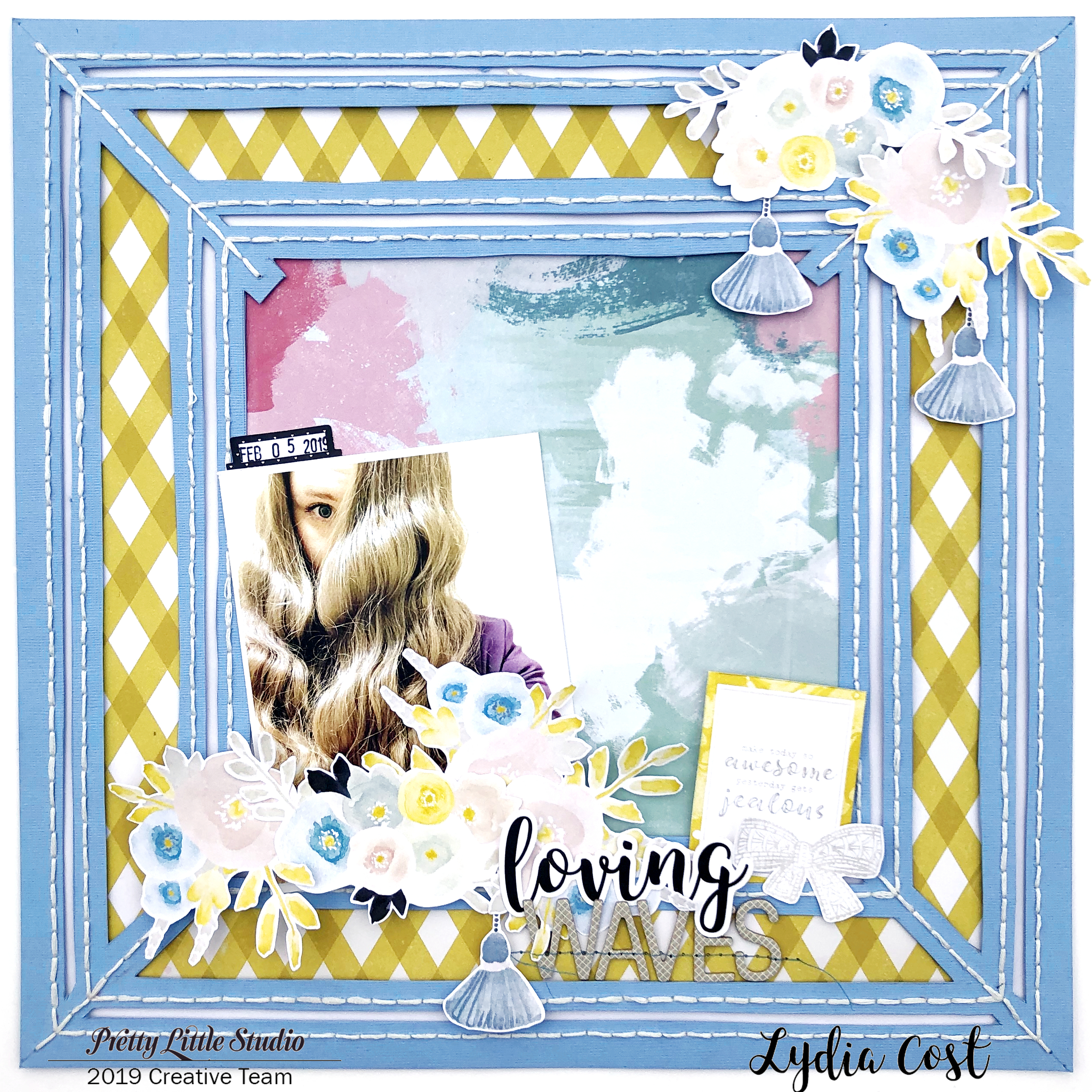 Loving Waves 12x12 Scrapbook Layout using Pretty Little Studio Shine Bright Collection - Lydia Cost