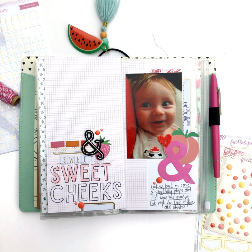 Sweet Cheeks Traveler's Notebook Spread using Freckled Fawn Feb 2019 Bundle, Elle's Studio Stamps, and American Crafts Ephermera - Lydia Cost