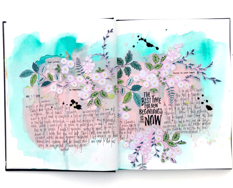 New Beginnings Art Journal Spread using Maggie Holmes Florals - Lydia Cost