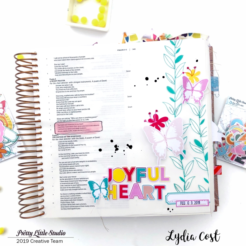 Joyful Heart Bible Journaling Page using Pretty Little Studio Bohemian Dreams by Ashley Horton - Lydia Cost