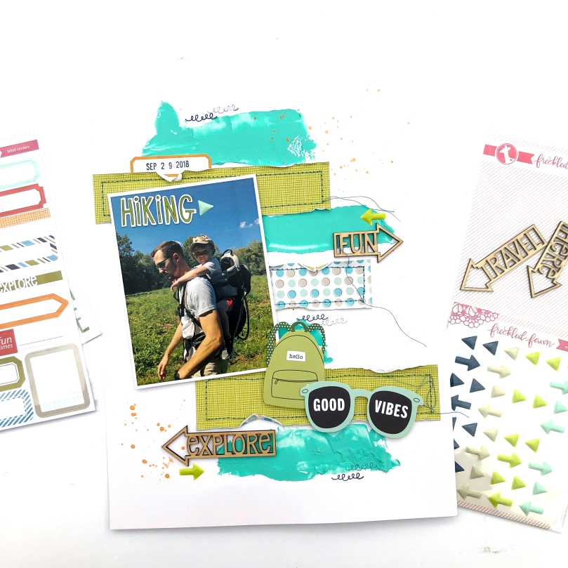 8 1/2 x 11 Hiking Scrapbook Layout using Freckled Fawn March 2019 Bundle - Lydia Cost