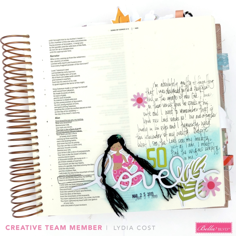 Song of Songs Bible Journaling Page using Bella Blvd Secrets of the Sea - Lydia Cost