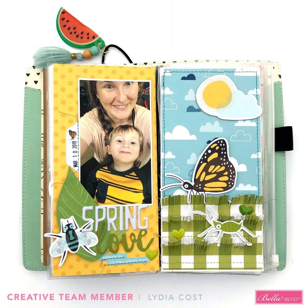 Spring Love Traveler's Notebook Spread using Bella Blvd Bug Explorer Collection - Lydia Cost