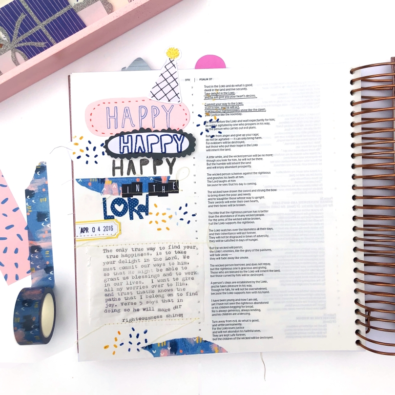 Delight in the Lord Bible Journaling Page using Illustrated Faith Confetti Kit - Lydia Cost