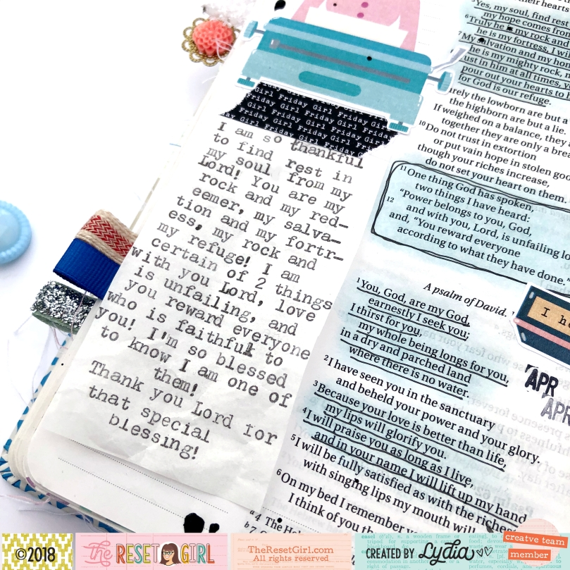 The Reset Girl Girl Friday Collection Bible Journaling Page - Lydia Cost