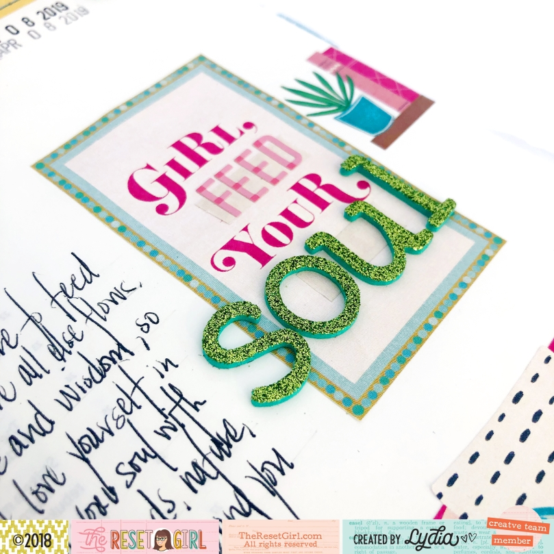 The Reset Girl Bible Journaling Page using The Pink Barlow Cover for The Reset Girl - Lydia Cost