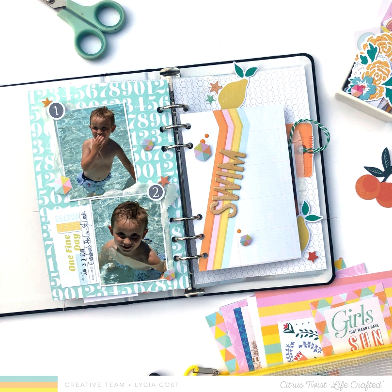 Citrus Twist Kits Swim Life Crafted Scrapbook Spread - Lydia Cost
