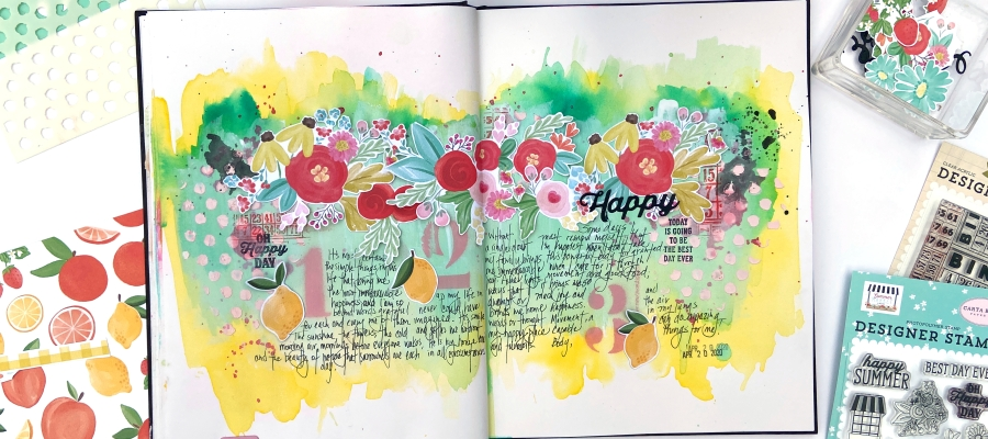 Carta Bella Summer Market - Art Journal Page - Lydia Cost
