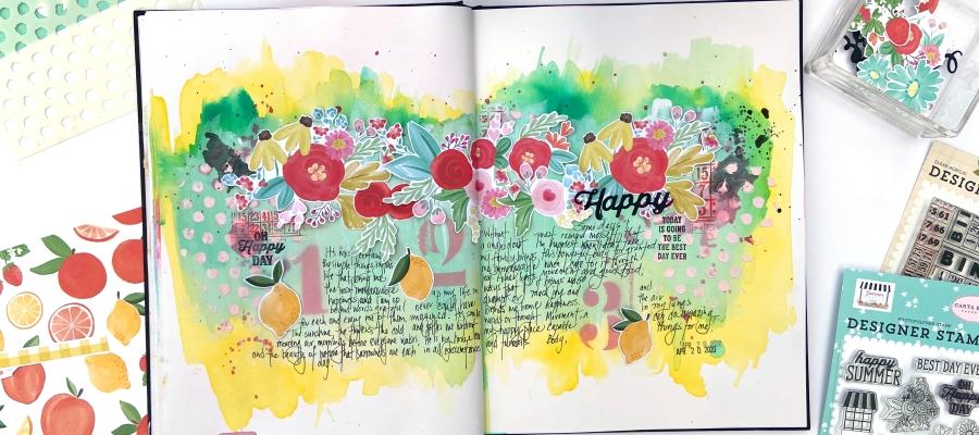 Carta Bella Summer Market - Art Journal Page - Lydia Cost