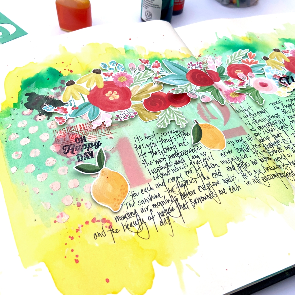 Happy Art Journal Spread │ Carta Bella Summer Market │ Lydia Cost