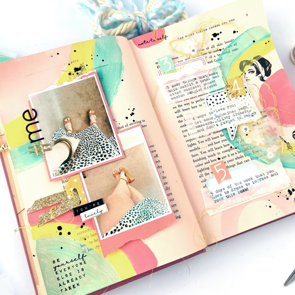 Felicity Jane Mix-It Monday │ Altered Book Spread │ Lydia Cost